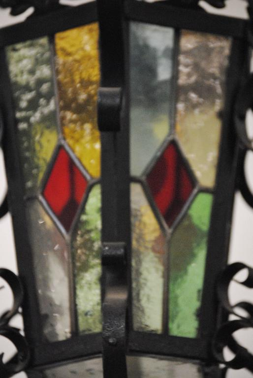 20th Century Antique French Stained Glass Iron Lantern For Sale
