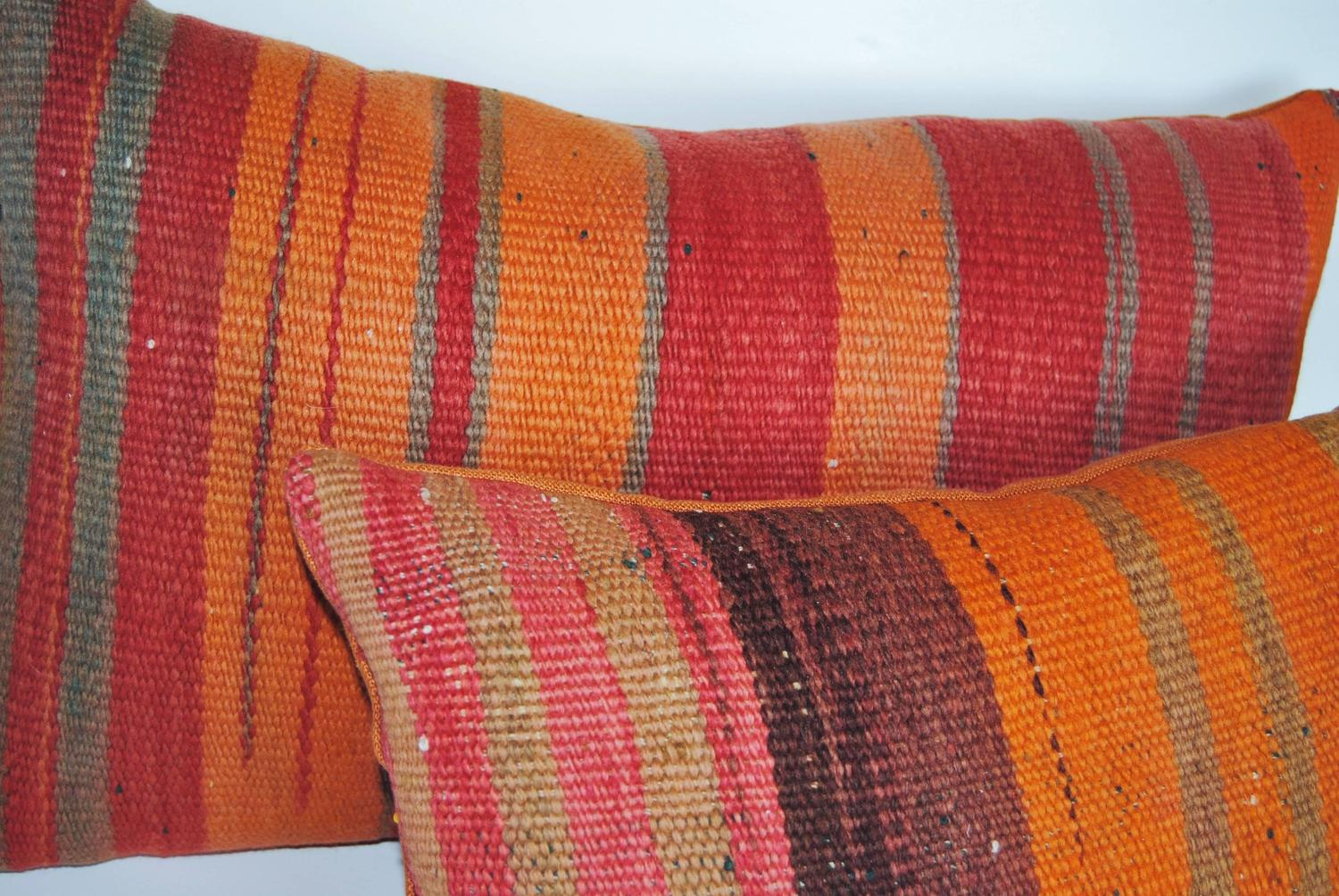 Custom pillow cut from a vintage hand loomed wool moroccan for Wool berber area rug