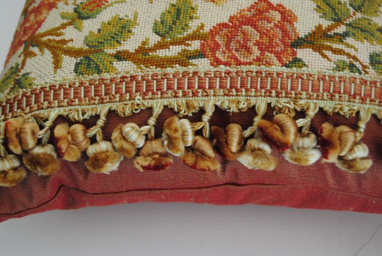 Antique French Needlepoint Pillow, Silk and Wool, Late 19th Century In Good Condition For Sale In Glen Ellyn, IL