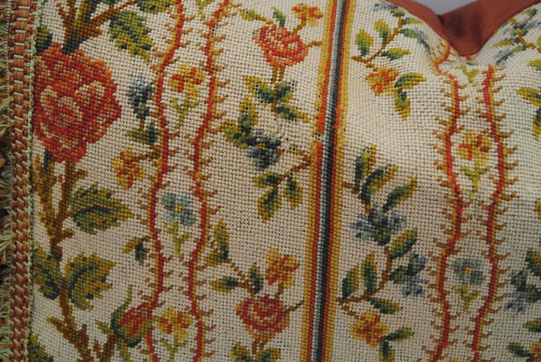 Antique French Needlepoint Pillow, Silk and Wool, Late 19th Century For Sale 1
