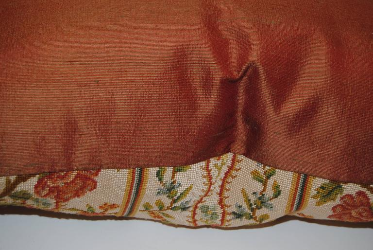 Antique French Needlepoint Pillow, Silk and Wool, Late 19th Century For Sale 2