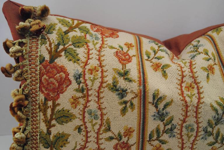 Antique French Needlepoint Pillow, Silk and Wool, Late 19th Century For Sale 3