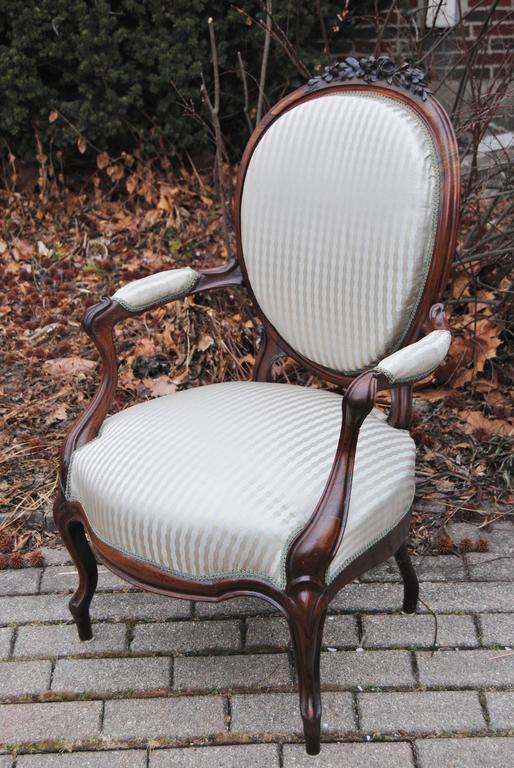 Danish Antique European Rosewood Chair, Newly Upholstered in Scalamandre Silk Stripe For Sale
