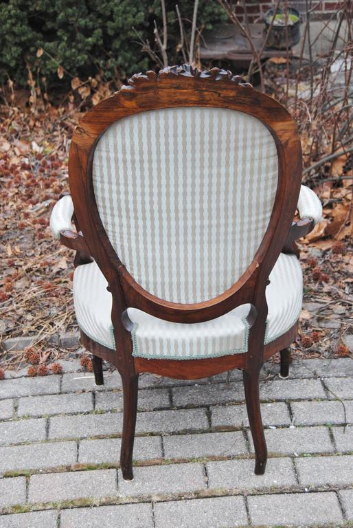 Antique European Rosewood Chair, Newly Upholstered in Scalamandre Silk Stripe In Excellent Condition For Sale In Glen Ellyn, IL