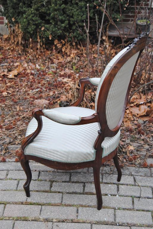 19th Century Antique European Rosewood Chair, Newly Upholstered in Scalamandre Silk Stripe For Sale
