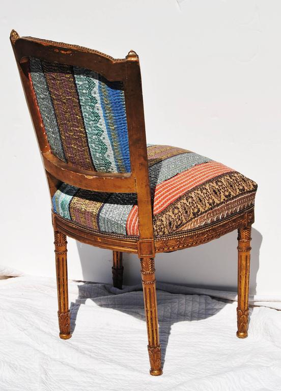 Antique Danish Chair Newly Upholstered in a Vintage Silk Kantha Quilt from  India 3. Antique Danish Chair Newly Upholstered in a Vintage Silk Kantha