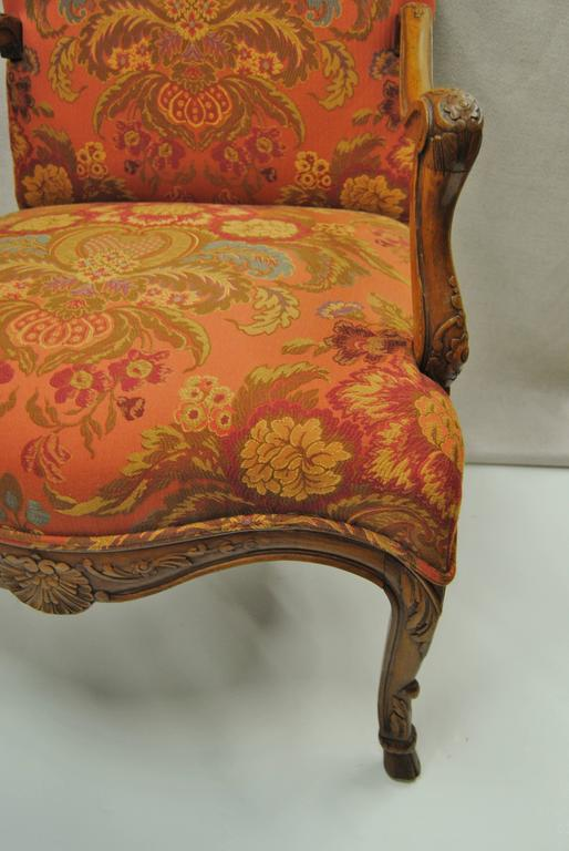 Vintage Hand Carved French Chair, Newly Upholstered In Excellent Condition  For Sale In Glen