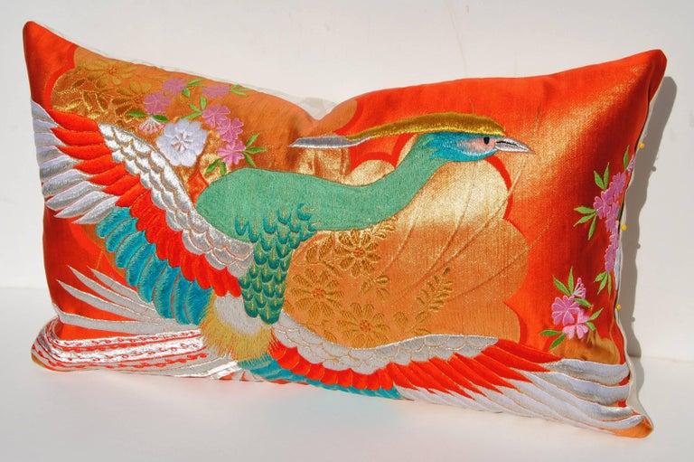 Embroidered Custom Pillow Cut from a Vintage Japanese Silk Uchikake Wedding Kimono For Sale