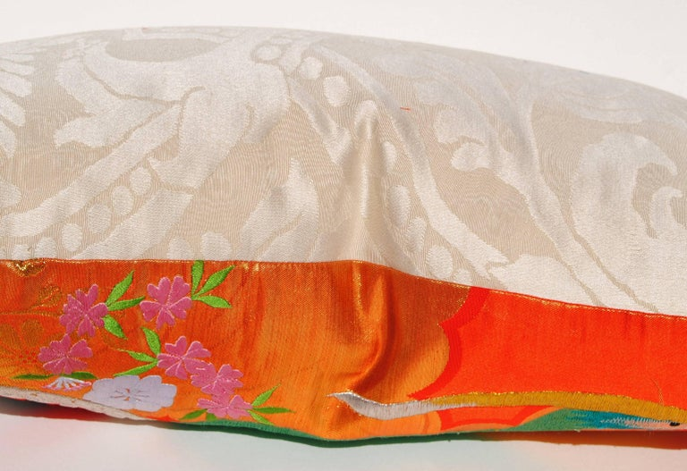 Custom Pillow Cut from a Vintage Japanese Silk Uchikake Wedding Kimono In Excellent Condition For Sale In Glen Ellyn, IL