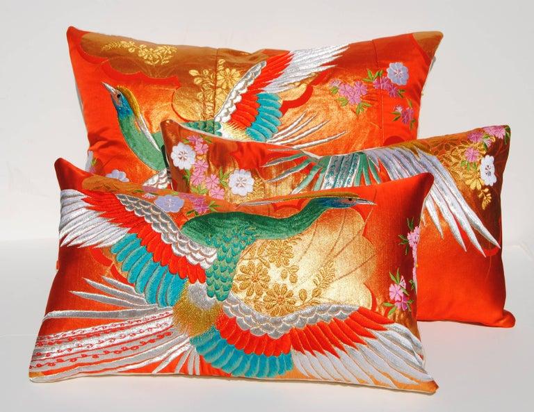 20th Century Custom Pillow Cut from a Vintage Japanese Silk Uchikake Wedding Kimono For Sale