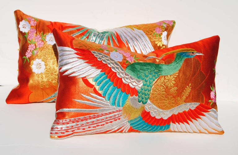 Custom Pillow Cut from a Vintage Japanese Silk Uchikake Wedding Kimono For Sale 1