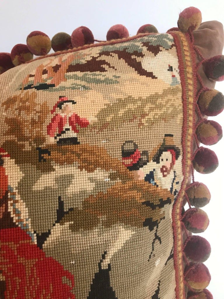English Antique European Needlepoint Pillow with Designer Wool Ball Fringe For Sale