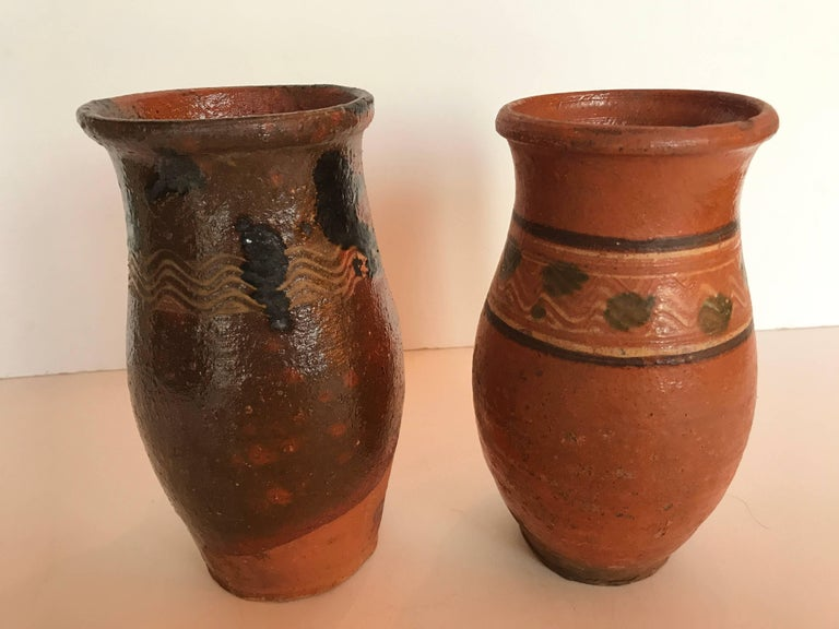 Romanian Vintage Transylvania Redware Pottery Pitchers, Romania, Hand-Painted, Folk Art For Sale