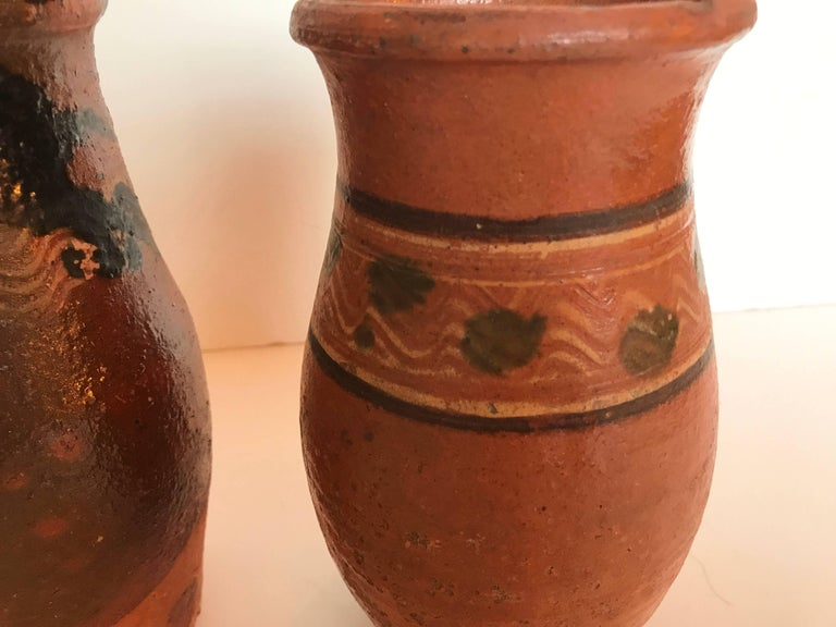 Vintage Transylvania Redware Pottery Pitchers, Romania, Hand-Painted, Folk Art In Good Condition For Sale In Glen Ellyn, IL