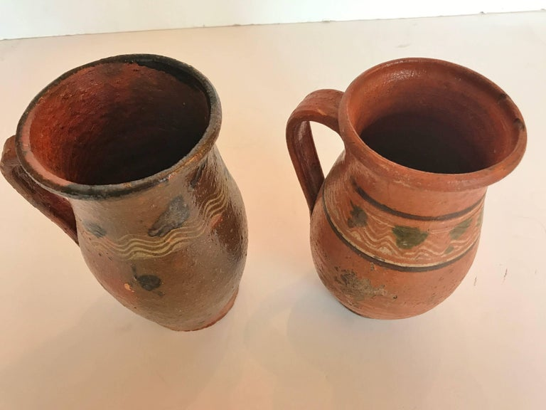 Vintage Transylvania Redware Pottery Pitchers, Romania, Hand-Painted, Folk Art For Sale 1