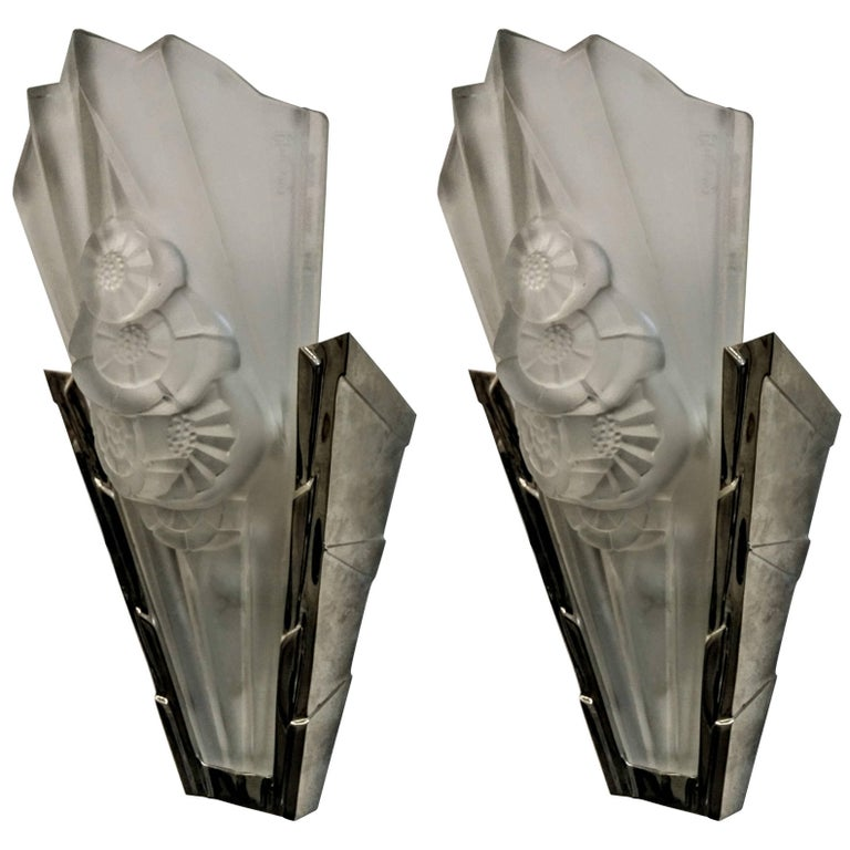 Pair of French Art Deco Wall Sconces signed by Degue For Sale
