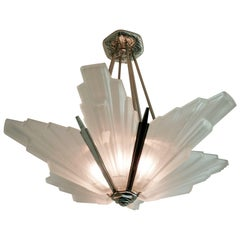French Art Deco Geometric Six-Panel Chandelier