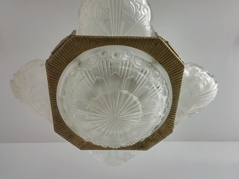 Cast French Art Deco pandent Chandelier by Georges Leleu For Sale