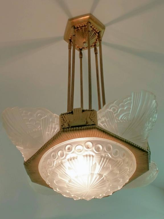 French Art Deco pandent Chandelier by Georges Leleu For Sale 1