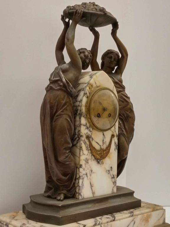 Cast French Art Nouveau Sculpture Clock For Sale
