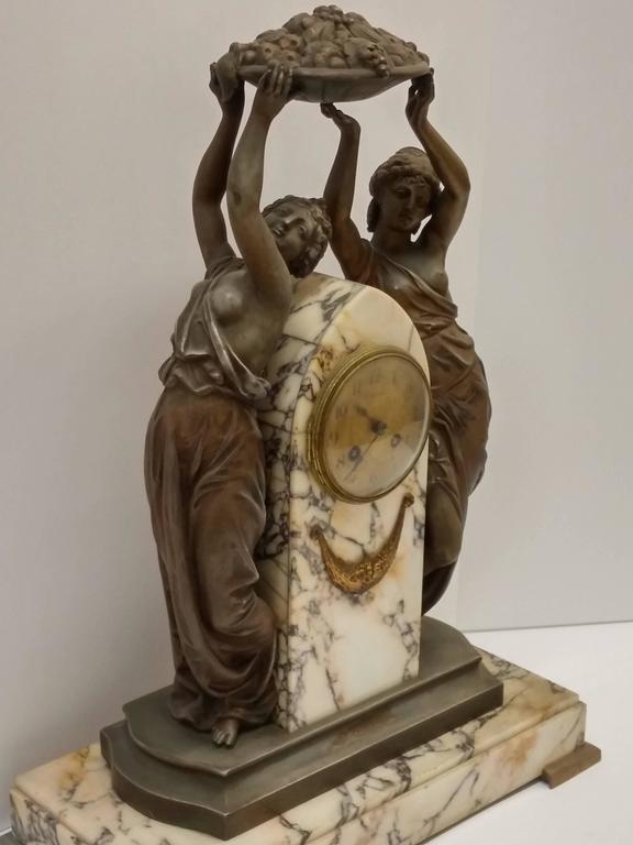20th Century French Art Nouveau Sculpture Clock For Sale