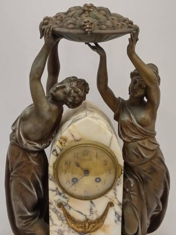 Pewter French Art Nouveau Sculpture Clock For Sale