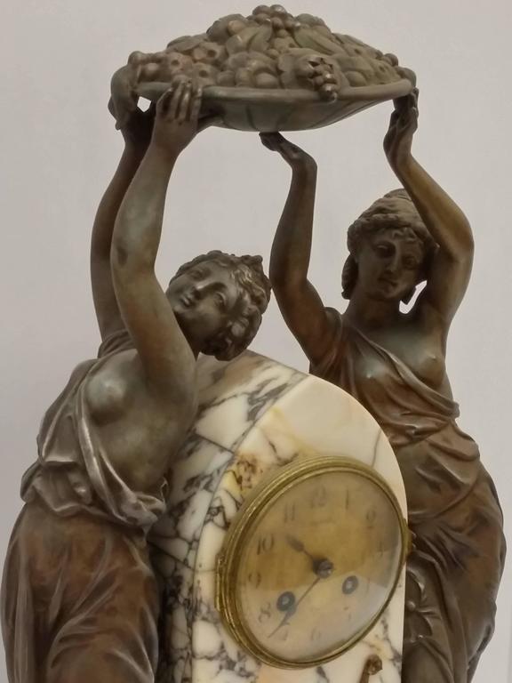 French Art Nouveau Sculpture Clock For Sale 2