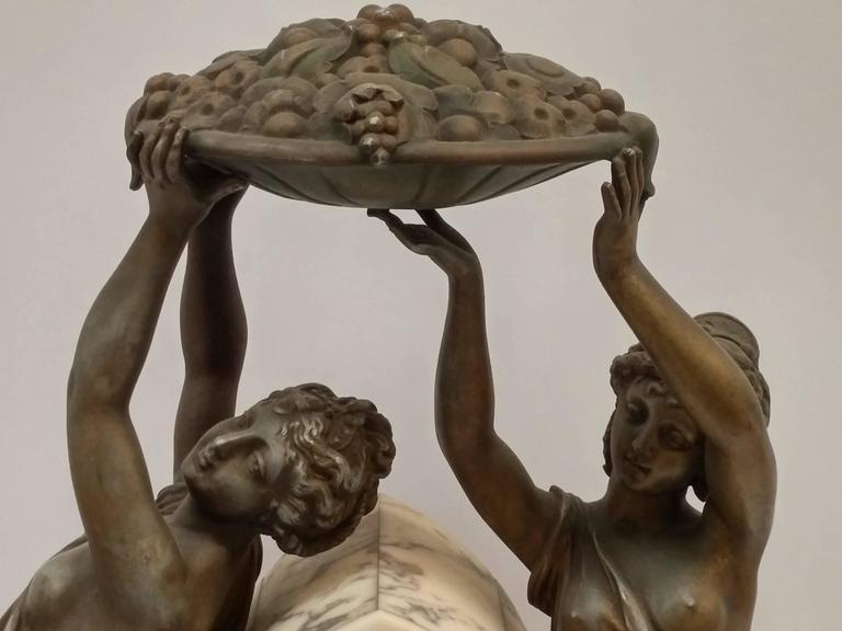 French Art Nouveau Sculpture Clock For Sale 4