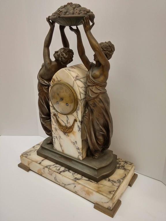 French Art Nouveau Sculpture Clock For Sale 1