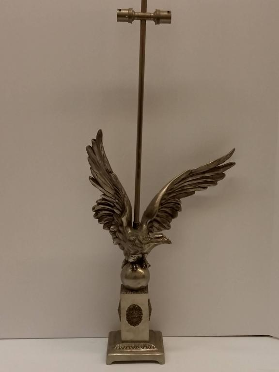 Bronze French Art Deco Eagle Table Lamp For Sale