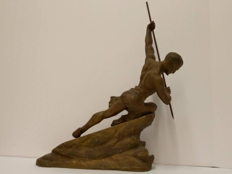 French Art Deco Hunter with a spear Sculpture by R. Varnier In Good Condition For Sale In Bronx, NY