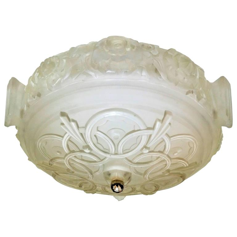French Art Deco Flush Mount by Sabino For Sale