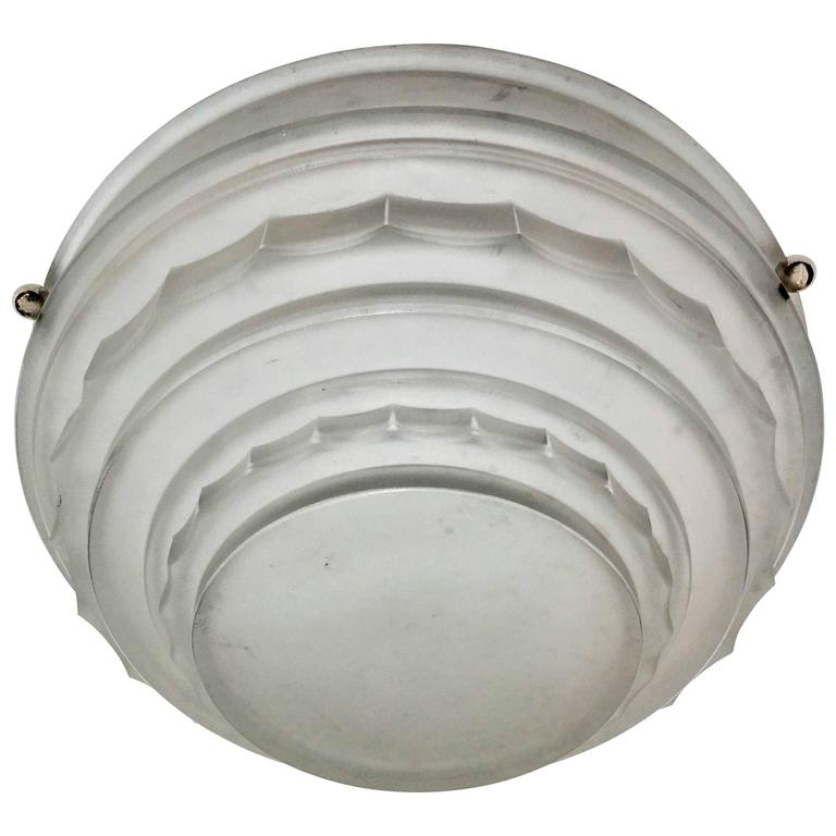 French Art Deco Flush Mount or Pendant Chandelier by Sabino