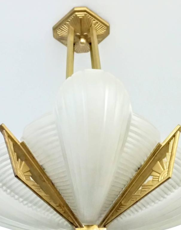 Cast French Art Deco Chandelier by Atelier Petitot For Sale