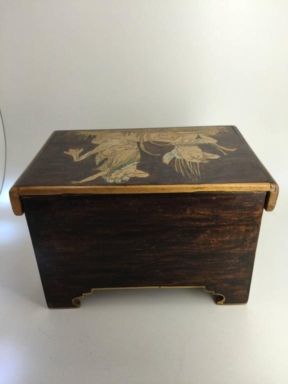 Painted Aesthetic Movement Trinket Box, circa 1900 For Sale