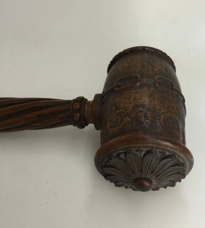 English Victorian Ceremonial Wood Gavel, Late 19th Century For Sale