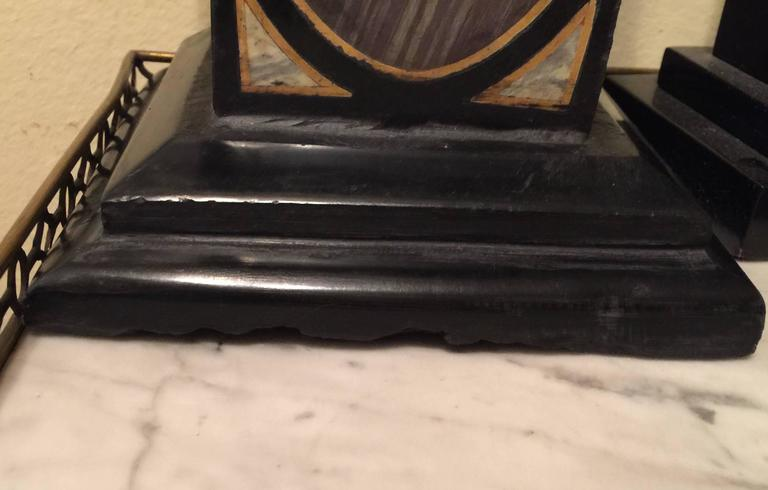 Italian Vintage Pair of Marble Specimen Obelisks, after Mongiardino For Sale