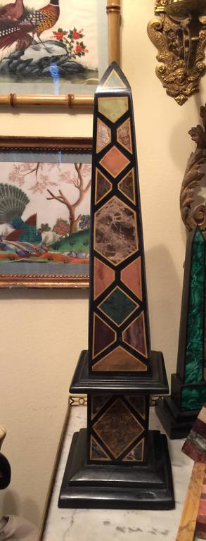 Inlay Vintage Pair of Marble Specimen Obelisks, after Mongiardino For Sale