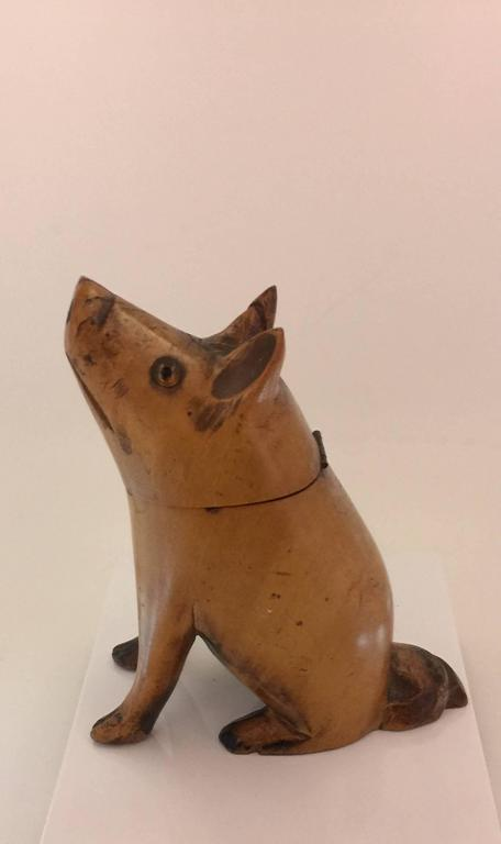 Carved Victorian Pig Wooden Inkwell, 19th Century at 1stdibs