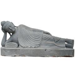 20th Century Garden Statue of a Lava Stone Reclining Buddha