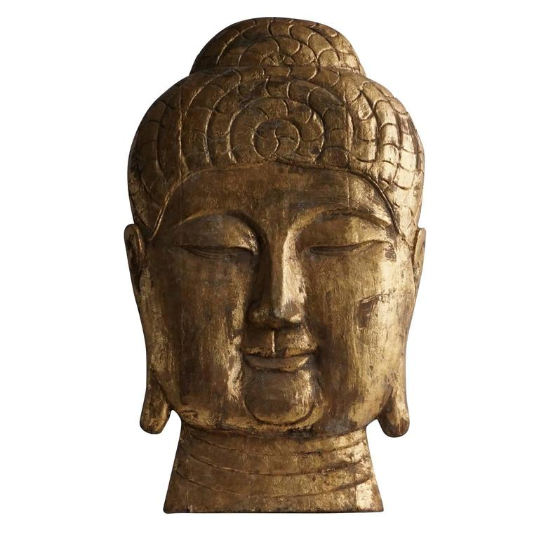 Early 20th Century Buddha Head Half Relief