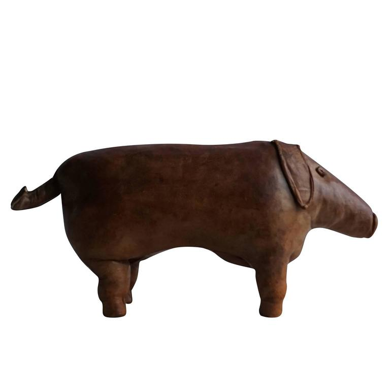 20th Century Leather Ottoman Pig by D. Omersa