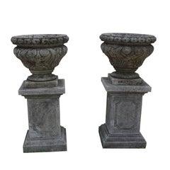 Mid-19th Century Italian Renaissance Style Limestone Urns