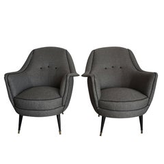 20th Century, Pair of Italian Lounge Chairs