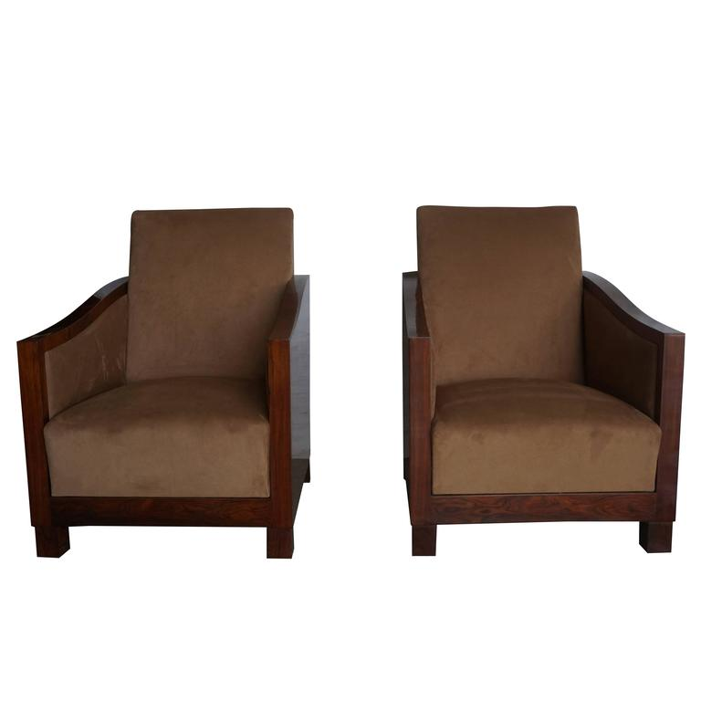 20th Century Pair of French Art Deco Club Chairs