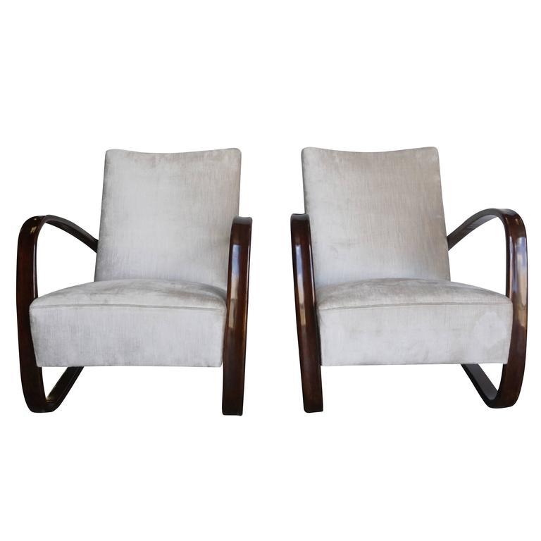 Art Deco Pair of Jindrich Halabala Arm Chairs H-269