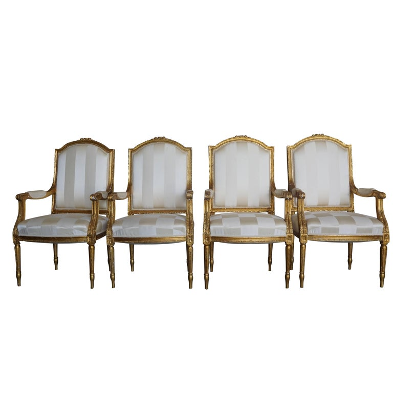 Mid-19th Century Set of Four Napoleon III French Armchairs For Sale