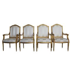 Mid-19th Century Set of Four Napoleon III French Armchairs