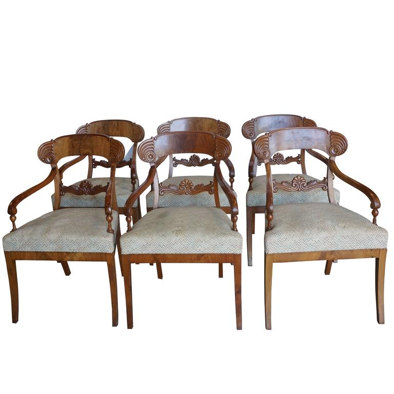 Early 19th Century Set of Six Karl Johan Armchairs For Sale