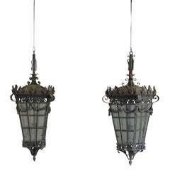 Early 20th Century Pair of very large Parisian Hanging Lanterns